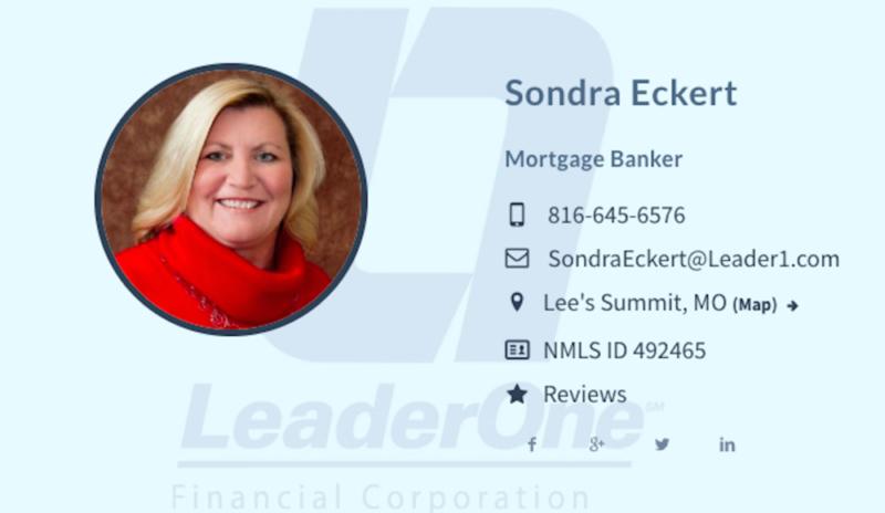 Sondra Eckert      of LeaderOne Financial Corporation
